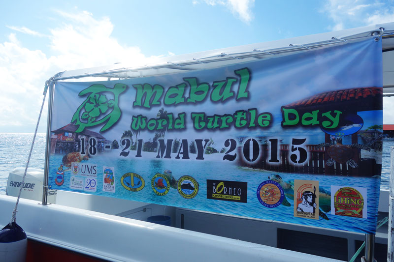 Mabul World Turtle Day Banner at Mabul Turtle Week  - Sipadan, Malaysia