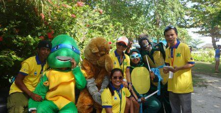 Suki and Kim with Mascots - Turtle Week Mabul - Seaventures Dive Rig - Sipadan